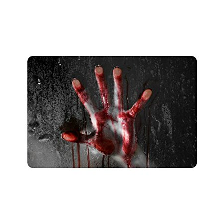 MKHERT Horror Scene with Bloody Hand Glass Halloween Doormat Rug Home Decor Floor Mat Bath Mat 23.6x15.7 inch - Bat Decor For Halloween