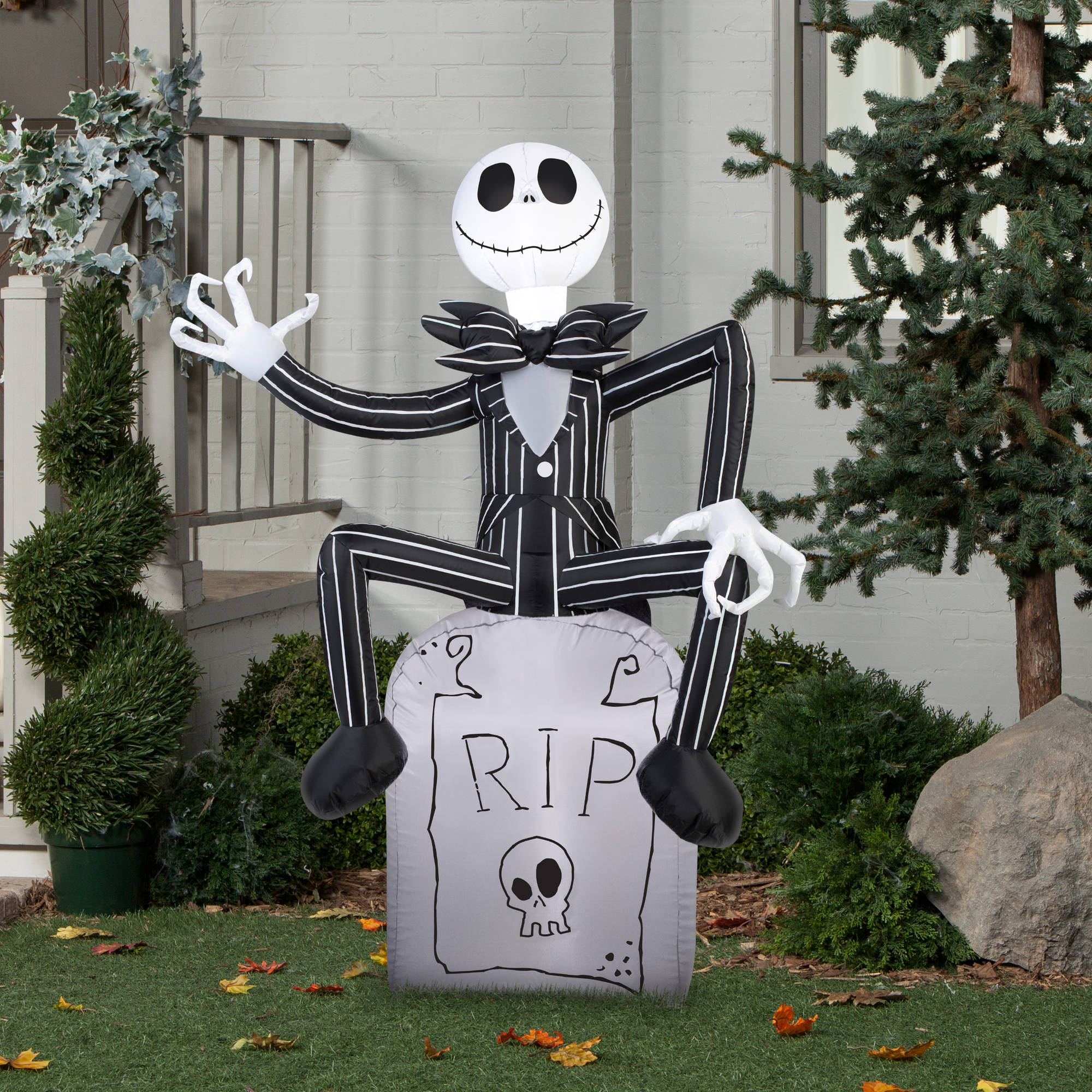 gemmy airblown inflatable 5 x 35 nightmare before christmas jack skellington on tombstone halloween decoration walmartcom - Jack Skeleton Christmas Decorations