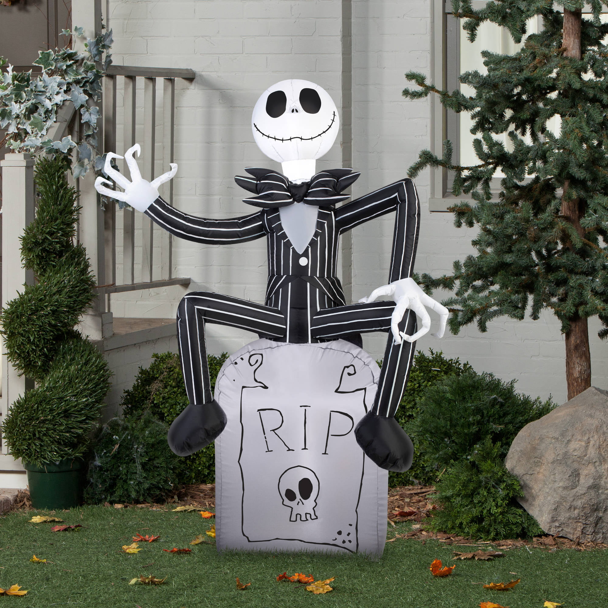 gemmy airblown inflatable 5 x 35 nightmare before christmas jack skellington on tombstone halloween decoration walmartcom - Nightmare Before Christmas Halloween Decorations For Sale