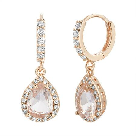 Rose Goldtone & Morganite Tear Drop Earrings