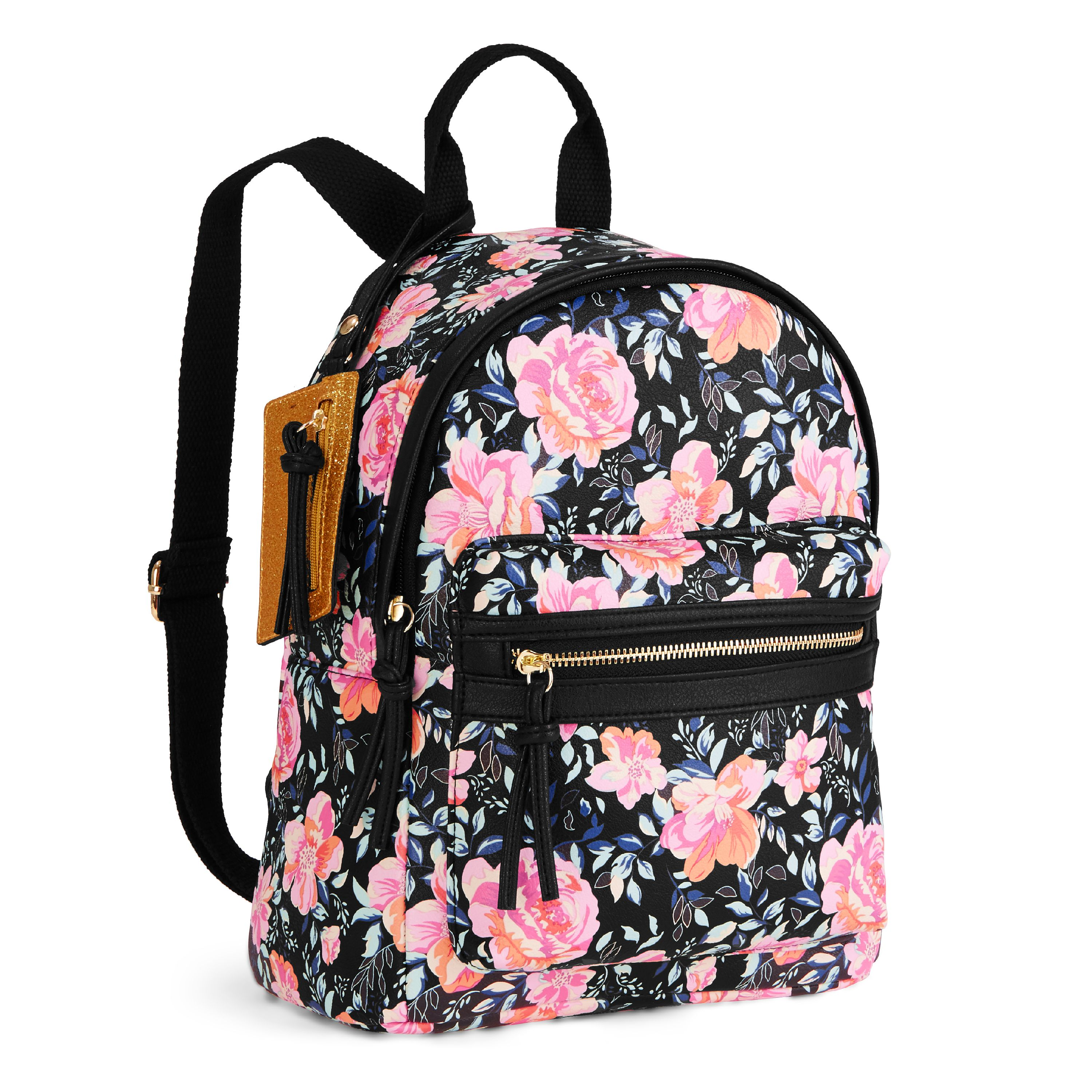 No Boundaries Black Floral Mini Dome Backpack