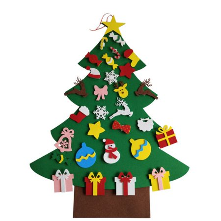 DIY Christmas Tree Kit With Small Removable Ornaments Felt Xmas Hand Craft Decorations For Kids And Adults ()