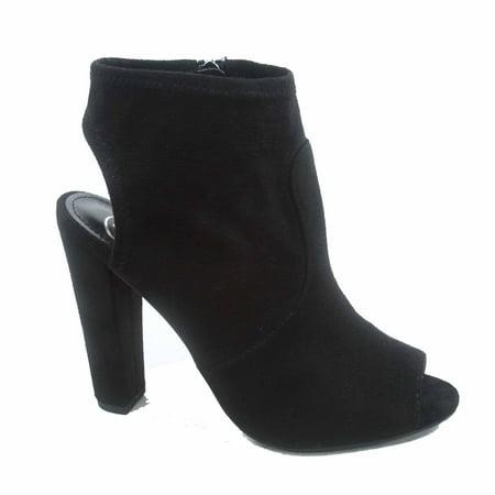 Zabat-s Women's Peep Toe Chunky  Heeled Mule Booties