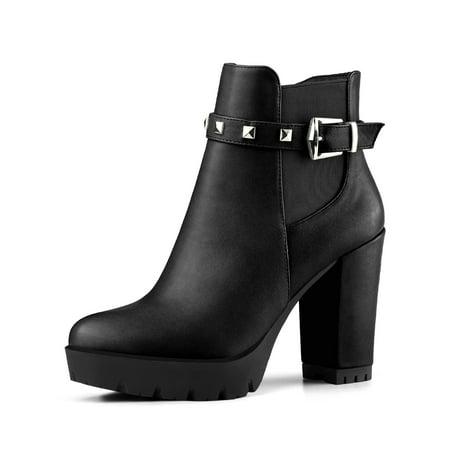 - Women's Rivet Decor Platform Block Heel Ankle Boots Black (Size 6)
