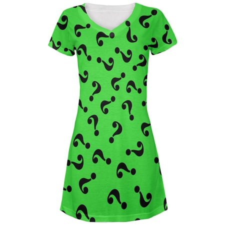 Halloween Riddle Me This Costume All Over Juniors V-Neck Dress - Halloween Riddles Hard
