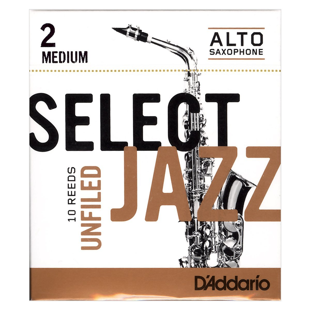 Daddario Select Jazz Unfiled Eb Alto Sax Reeds, 10ct, 2 Medium Strength by Rico