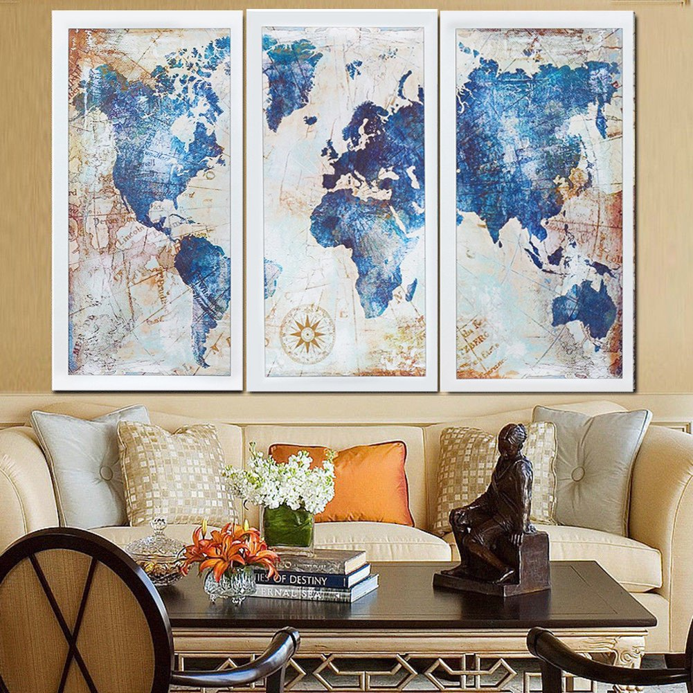 World Map Canvas Canada 3Pcs World Map Modern Wall Art Oil Canvas Painting Print Home