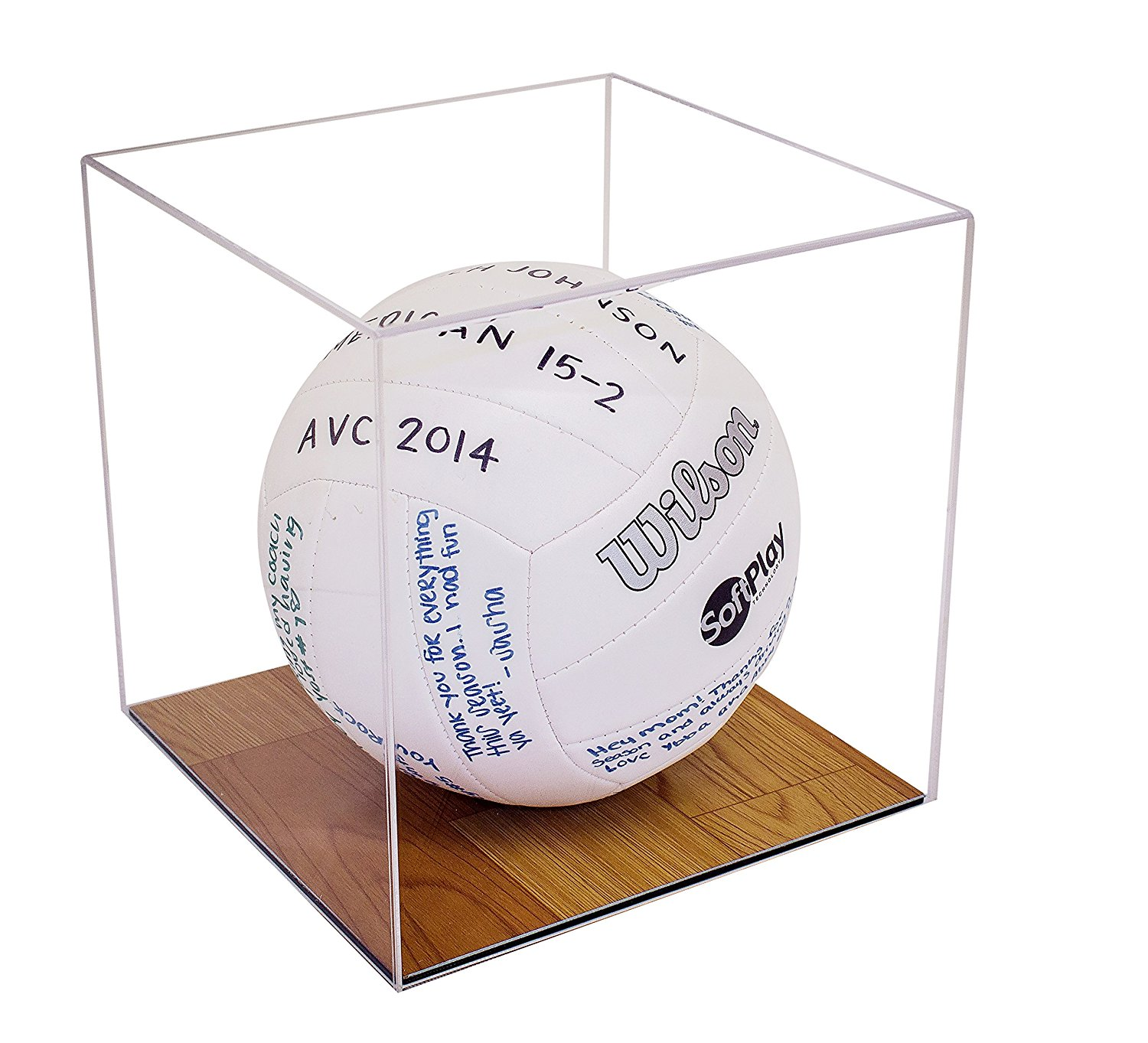 Deluxe Clear Acrylic Volleyball Display Case with Simulated Wood Floor (A008-WB)