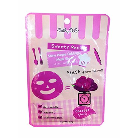 2 Packets of Cathy Doll Sweety Recipe Shiny Purple Cabbage Mask Sheet. Anti-wrinkle, Vitamin C, Hyaluronic Acid. (25 G/ (Cathy Doll Whitening Sunscreen L Glutathione Magic Cream)