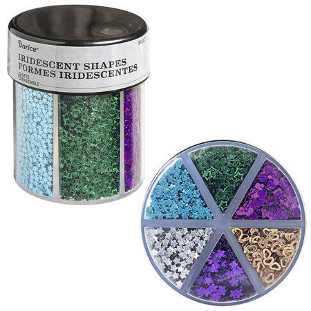 6-Color Shaped Glitter Caddy: Dark Hearts & Stars - Heart Glitter