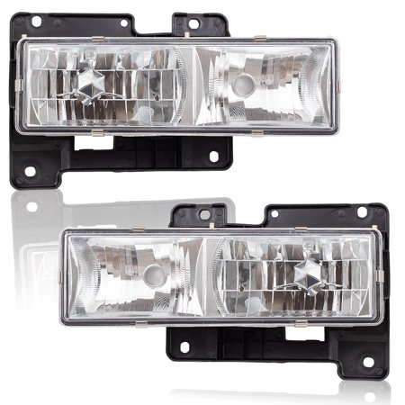 Pair Set Performance Composite Headlamps w/ Crystal Clear Lenses for Chevrolet Blazer Tahoe GMC Yukon Pickup Truck Suburban