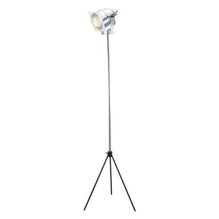 Adesso Spotlight Floor Lamp  Silver Finish