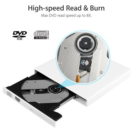 TSV USB 2 0 External DVD ROM Combo CD-RW CD-ROM Burner Drive with Two  Cables for PC Laptop