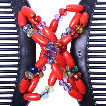 Retro Wooden Beads Magic Hair Comb Double Row Hairpin Insert Women Hairstyle Clip - image 7 of 7