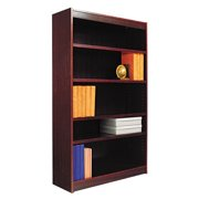 Alera Square Corner Wood Bookcase, Five-Shelf, 35-5/8w x 11-3/4d x 60h, Medium Cherry
