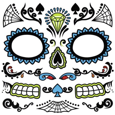 Day Of The Dead Face Sugar Skull Temporary Tattoo Dia De Los Muertos Costume