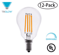 TriGlow (12-Pack) LED 4.5 Watt (40W Equivalent) A15 Clear Glass Bulb, DIMMABLE 2700K (Warm White Color), 450 Lumens, E12 Medium Base A15 LED Bulbs