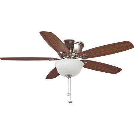 "52"" Honeywell Eastover Ceiling Fan, Hugger, Satin Nickel"