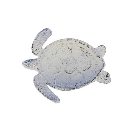 Whitewashed Cast Iron Sea Turtle Decorative Bowl 7