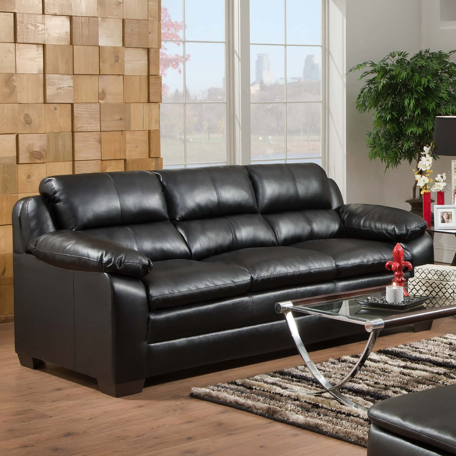 Simmons Soho Onyx Leather Sofa   Walmart.com