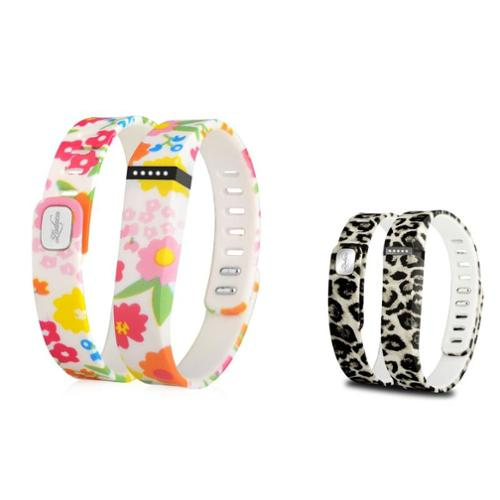 Zodaca 2-pack Small Size TPU Replacement Band Wristband with Clasp for Fitbit Flex Bracelet - Flower+Brown Leopard