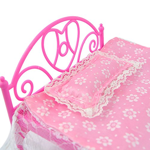 Pink Mini Bed With Pillow for Barbie Dolls Dollhouse Bedroom Furniture