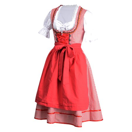 Women's Dirndl Serving Wench Bavarian Beer Oktoberfest Costume Red S