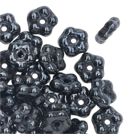 Preciosa Czech Glass, Forget Me Not Flower Spacer Beads 5mm, 72 Pieces, Hematite