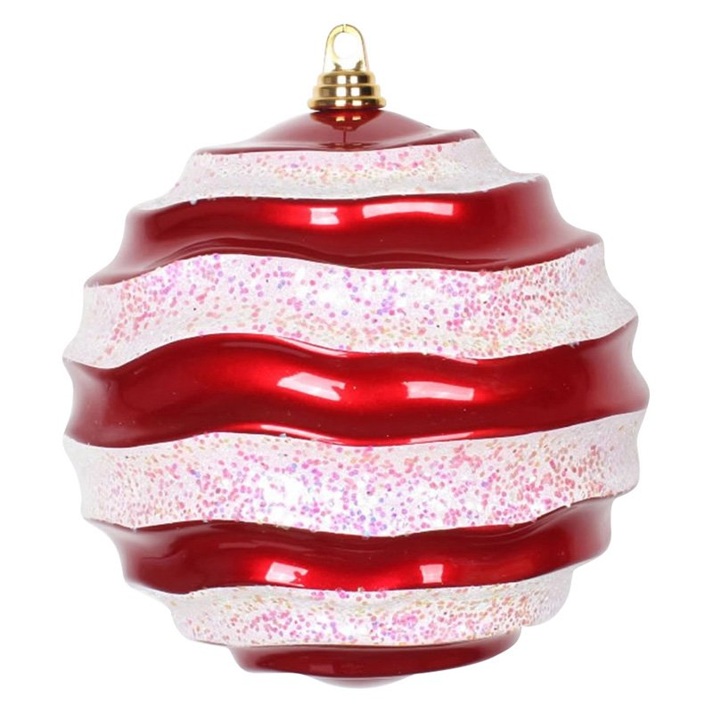 "10"" Red-White Candy Glitter Wave Ball"