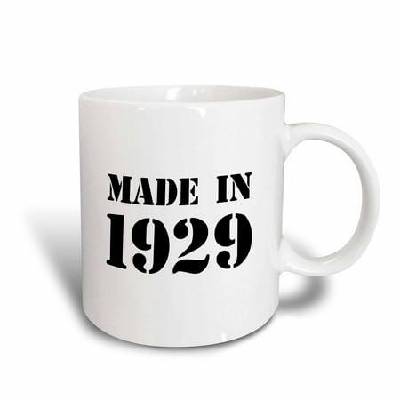 3dRose Made in 1929 - funny birthday birth year text - fun black bday stamp with year you were born - humor - Ceramic Mug, - Bday Ideas