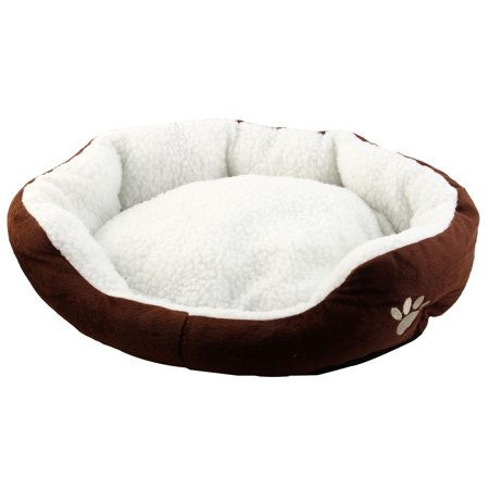 Dimple Plush Nesting Bed (Pet Plush Oval Shape Removable Cushion Nesting Dog Bed Cave Brown 50cm x 40cm )
