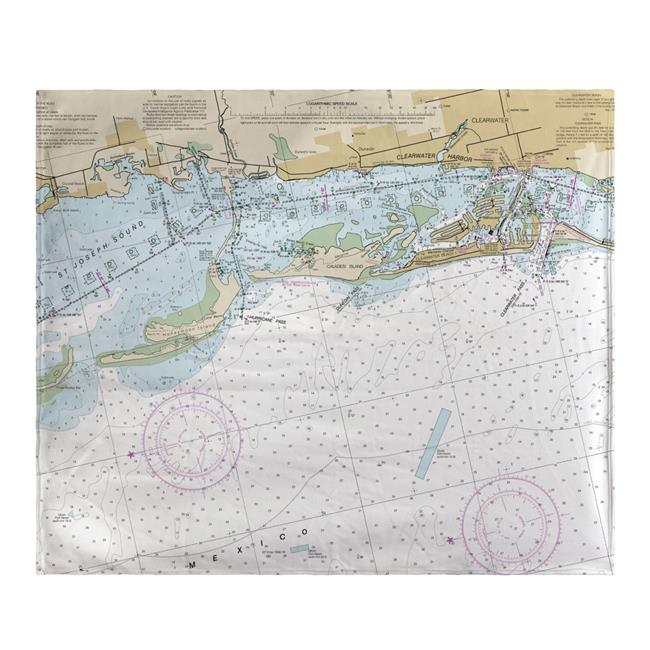 Betsy Drake BK11411CD Clearwater Harbor, FL Nautical Map Fleece Throw - image 1 of 1