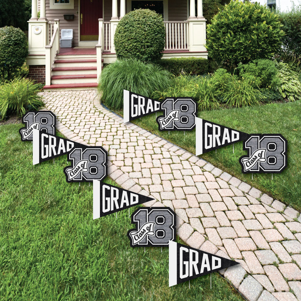 All Star Grad - Pennant Flag & 2018 Lawn Decorations - Outdoor Graduation Party Yard Decorations - 10 Piece