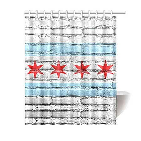 YUSDECOR United State Flag Waterproof Shower Curtain Decor Flag of Chicago State Illinois On Brick Wall Fabric Bathroom Set 60x72 inch - image 1 of 1