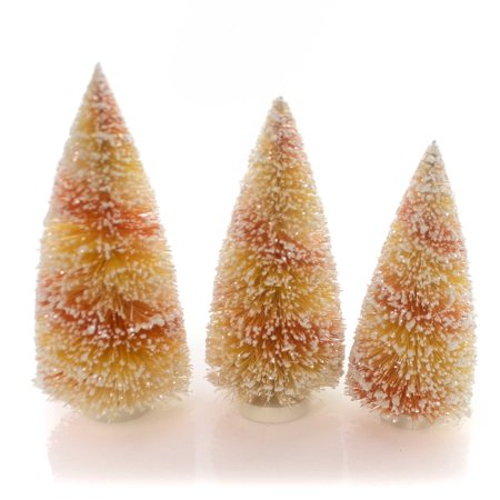 Halloween CANDY CORN BOTTLE BRUSH TREES Plastic Glitter Sn5825](Halloween Brushes)