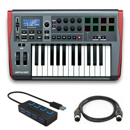 Novation Impulse 25 Controller Keyboard with 4 Port 3.0 USB HUB and Midi