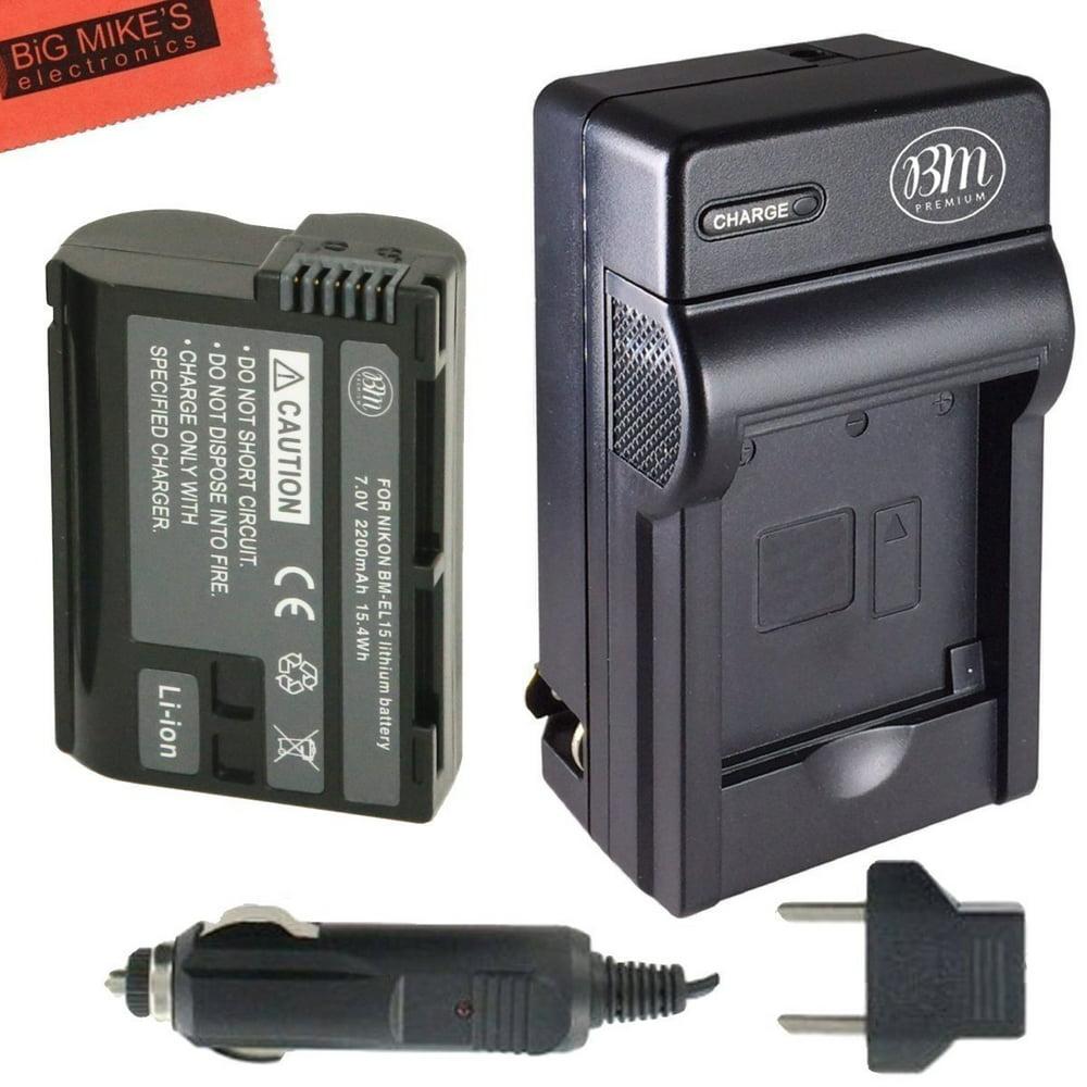 BM Premium EN-EL15 Battery and Battery Charger for Nikon 1 V1, D600, D610, D750, D800, D810, D810A, D7000, D7100, D7200 Digital SLR Camera