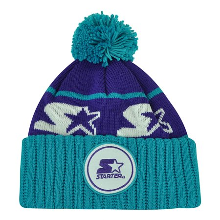 Starter Blank Purple Blue Pom Pom Beanie Knit Cuffed Toque Solid Plain Winter ()