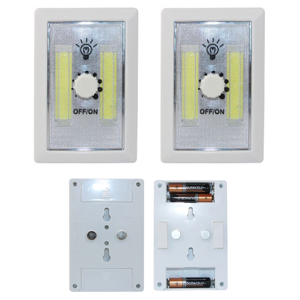2 COB LED Night Light Wall Dimmer Wireless 240 Lumen Closet Multi Use Self Stick