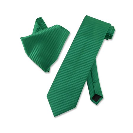 Vesuvio Napoli EMERALD GREEN Striped NeckTie Handkerchief Matching Neck Tie - Dark Green Polyester Ties