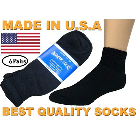 Creswell 6 Pairs Of Mens Black Diabetic Ankle Socks 13-15 Size MADE IN USA (Male Diabetic Socks)