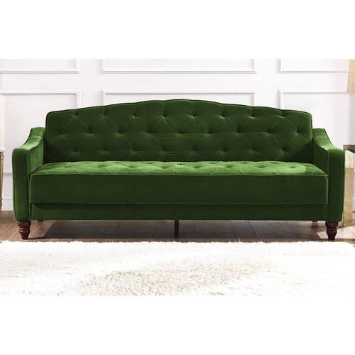 Vintage Tufted Sofa Sleeper Green Blue Gray Pink Dark Red Beige