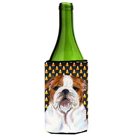 Bulldog English Candy Corn Halloween Portrait Wine bottle sleeve Hugger - 24 - Wine Bottle Cork Halloween Costume