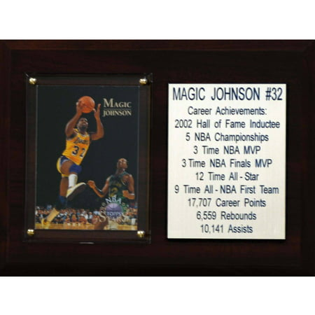 C&I Collectables NBA 6x8 Magic Johnson Los Angeles Lakers Career Stat -