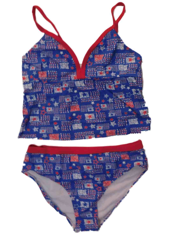 OP Girls Red White Blue Stars Patriotic Bikini Swimming Suit Tankini Swimsuit