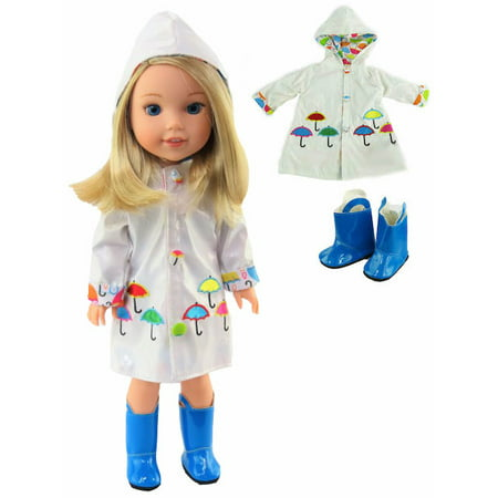 White Raincoat with Electric Blue Rain Boots Fits 14