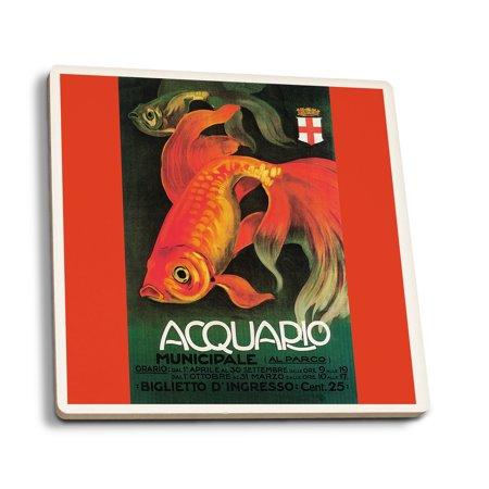 Promotional Four - Italy - Aquarium & Municipal Park - Vintage Promotional Poster (Set of 4 Ceramic Coasters - Cork-backed, Absorbent)