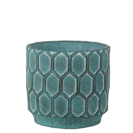 Privilege 007-00010 7.5 x 7.5 x 6.5 in. Traditional Cement Round Pot, Antique Blue