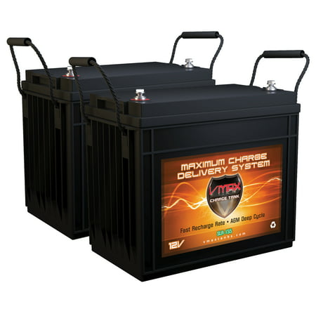 QTY 2 VMAX SLR155 12V AGM 155Ah (310 Ah total) Deep Cycle Rechargeable Solar Battery for Residential Backup Generators