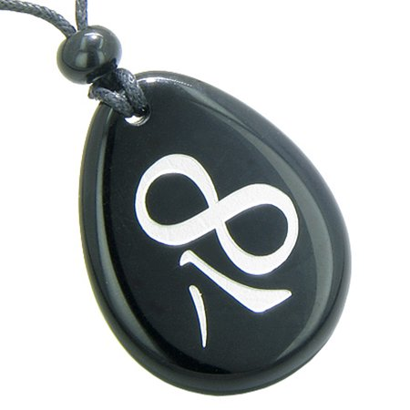 Magic Lucky Kanji Infinity Eight Symbol Spiritual Powers Amulet Black Agate Pendant Necklace